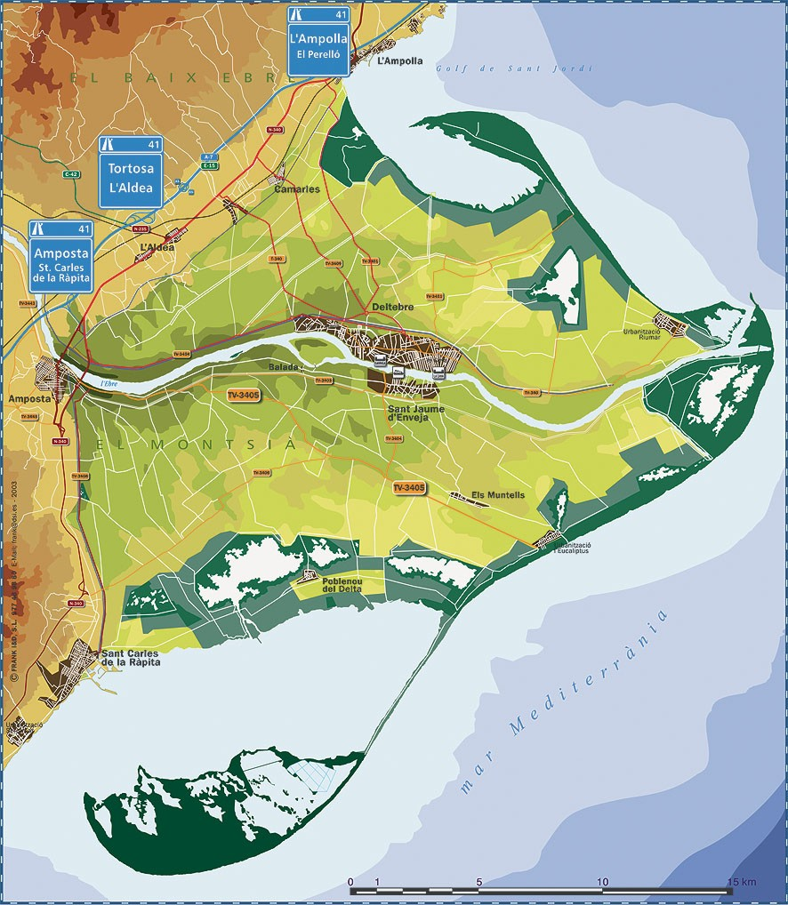 Mapa Delta De L Ebre.Map Of Delta Of The Ebre